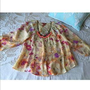 Sundance Catalog $128 M chiffon silk floral blouse